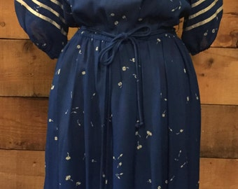Navy Blue Boat Neck Dress