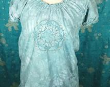Embroidered Mandala T-Shirt, Size M, feminine t-shirt, altered t-shirt, puffy sleeves, tie dye, blue, aqua, gray, babydoll top, hippie chick