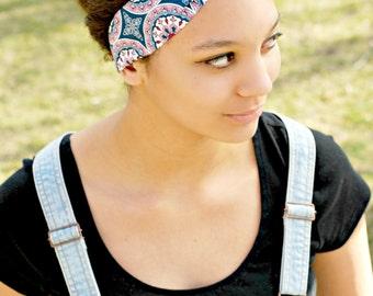 Navy and Pink Floral Printed Head Scarf, Bandana Bow Tie Headband, Pin up Hair Scarf