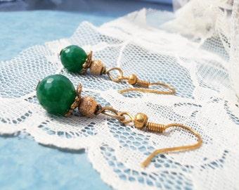 Emerald Earrings, Emerald Gemstone Earrings, Green Gemstone Earrings, Emerald Dangle Earrings, Green Dangle Earrings, Natural Emerald