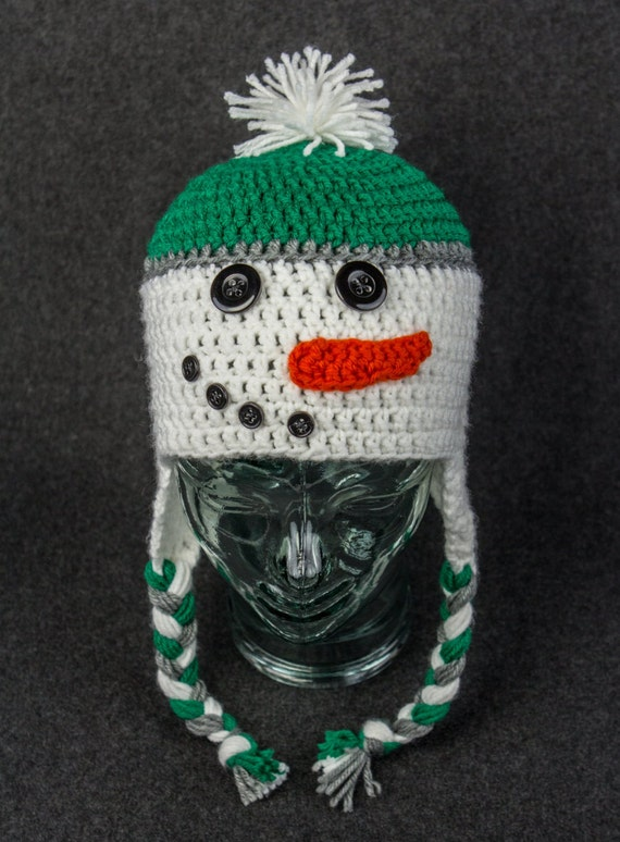 Hand Crochet Snowman Hat: Made to Order in any Size