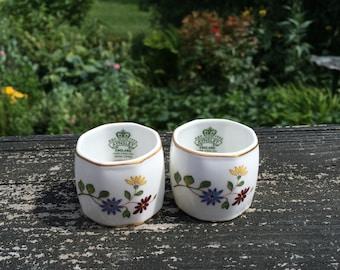 Vintage Aynsley Famille Rose Napkin Rings Set Of 2 English Bone China England