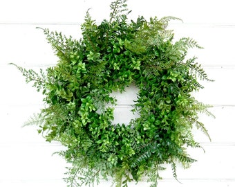 BOXWOOD Wreath-Winter Wreath-Spring Wreath-Outdoor Wreath-Fern Wreath-Year Round Wreath-Farm House Decor-Artificial Wreath-Housewarming Gift