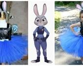 Judy Hopps Tutu,  Zootopia Halloween Costume, Bunny Halloween Costume, Plush Ears Headband, Judy Hopps Tutu Costume, Girls 3T 4T 5 6 7 8