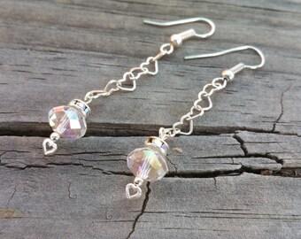 Sweet and lovely heart detail chain earrings