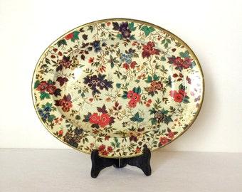 Vintage Nevco Tray Oval Tin Tray Kitchen Serving Ware Chintz