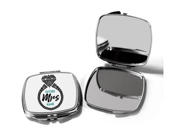 Future Mrs Gift Pocket Mirror, Bride Cosmetic Mirror, Custom Compact Mirror, Engagement gift for her, Bride to be gift ideas, Travel Mirror