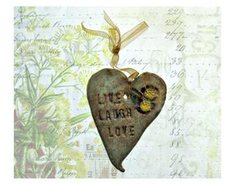 ceramic heart, wall decor heart, hanging heart, wall heart, clay heart,  LIVE - LAUGH - LOVE   # 6