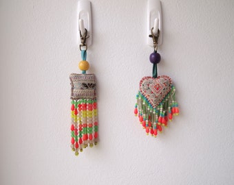 Set of 2 Bohemian Hmong Embroidered Pom Pom Vintage Bead Charm Accessoires