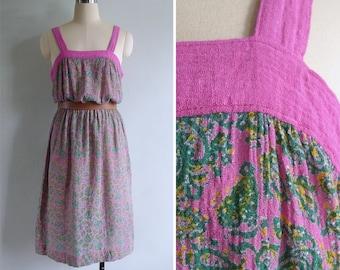 Vintage 80's Pink & Green Paisley Print Pinafore Sun Dress M or L
