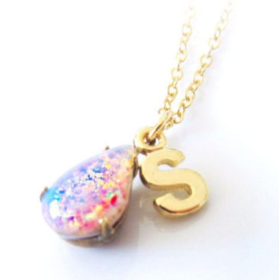 Opal Necklace with Gold Initial, Gold Necklace, Pink Fire Opal Necklace, Opal Birthstone Jewelry Gift