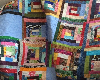 "A Liberated 40"" X 55"" Courthouse Steps Scrap Quilt"