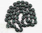 Shamrock Beads, Czech Glass, Black with Debossed Emerald Green Shamrock Pattern - Oval, 8x10 mm, 60 beads - Jewelry Making Supply Supplies