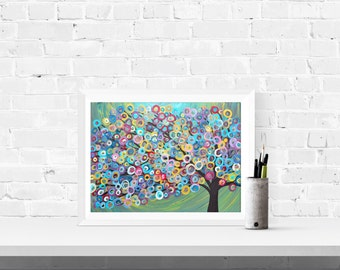 Abstract Tree Art Print - Circus Tree - Colourful Tree Fine Art Giclee Print in Blue, Pink, Yellow, Red, Green, Gold, Purple, & Pink