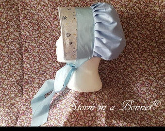 Blue Regency Bonnet