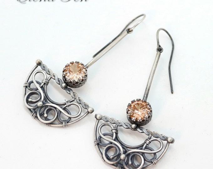 Champagne Earrings Peach earrings color changing earrings color change stone bridal earrings wedding earrings dangle sterling silver