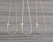 Sideways Cross Necklace - Horizontal Gold Side Cross Necklace - Rose Gold Cross Necklace for Women