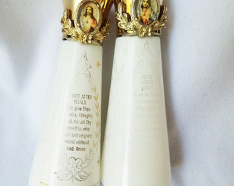 Vintage Salt and Pepper Shakers with Prayers and Religious Cabochons