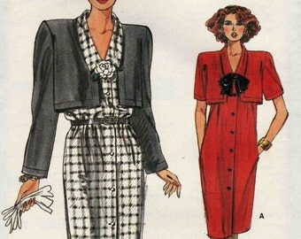 Sewing Pattern Vogue 9371 Loose fitting dress button front and collar with attached cropped jacket style overlay Size 12-14-16 (uncut)