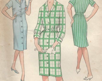 """Weigel's 2450 Shirtdress long or short sleeves button thru front notched collar optional elastic waist Bust 40"""" Vintage sewing pattern"""