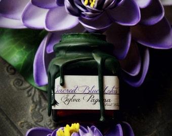 Organic solid lotus perfume - SACRED BLUE LOTUS - alchemy wax seal glass cork jar - organic essential oil