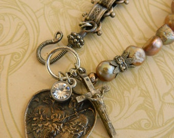 SACRED HEART BRACELET vintage repurposed assemblage  french jewelry crucifix pearls rhinestone bookchain by atelier paris on etsy