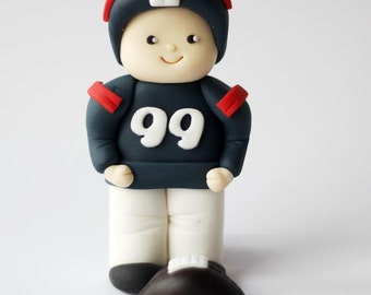 Fondant Football Cake Topper - Football Player Fondant Cake Topper - Sports Cake Topper - Sports Fondant Topper - Football Party