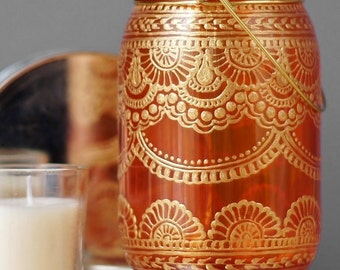 Bohemian Mason Jar Lantern, Painted Mason Jar Candle Lamp, Eclectic Home Decor, Mehndi Design, Gift for Her, Eclectic Gift Idea, Boho Gift