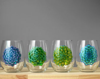 Succulent Inspired Stemless Wine Glasses, Set of Four Hand Painted, Botanical Artwork Glasses, Great Barware Gift for Spring