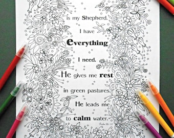 Psalm 23 1 etsy for The lord is my shepherd coloring page