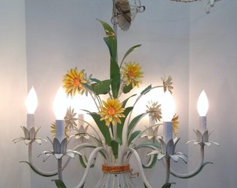 Italian Tole Sunflower Chandelier Weathered Shabby Chic Yellow Flower Bouquet Chandelier Chippy Sunroom Porch Deck Tole Ware Light DD 1048