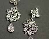Leaf Shape Posts Lace Bridal Earrings ,Crystal Swarovski Earrings, CZ Wedding Jewelry ,Leaves Petals Drop Earrings ,Large Bridal Earrings