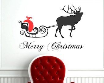 Merry Christmas, Deer & Carriage, Vinyl Wall Decal, CHRISTMAS Decoration, Holidays Decor, Vinyl Sticker, Christmas Party Decor - ID6 [p]