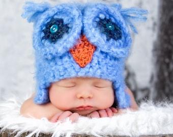 Crochet Blue Fuzzy Owl Hat, Newborn Baby, photography prop.