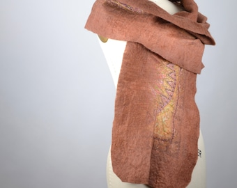 Boho Felted Scarf - Nuno Felted Scarf - Merino Wool Felted Scarf - Merino Wool Silk Scarf - Winter Scarf - Women's Accessories