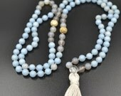 stress relieving mala - 108 hand knotted gemstone beads - agate, angelite, quartz and lotus seed