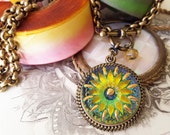Summer Sunset Yellow Art Glass Necklace Sunflower Daisy, Happy Gifts, Feel Good Color Sunny Summer Yellow Pendant Necklace  veryDonna Sutor
