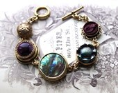 Antique Button Charm Bracelet February Birthday, gorgeous Teal Purple Gold, Button Jewelry Toggle Bracelet, Antique Button Jewelry veryDonna