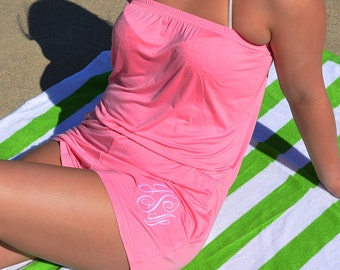 Monogram Rompers, Beach Rompers, Vinyl Monogram Rompers, Rompers, Monogram Swimsuit Cover Up, Beach Cover Up