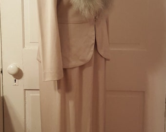 LILLI DIAMOND CALIFORNIA // 70's Mint Green Marabou Feather Maxi Cream Brown Dress Blazer Jacket Matching Separates Size 14 M/L Two Piece