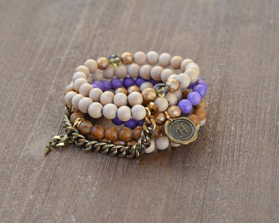 The Laura Stack - Purple Beaded Stretch Bracelet - Bracelet Stack Set - Wood Bead Bracelet - Arm Candy Bracelets - Charm Bracelet