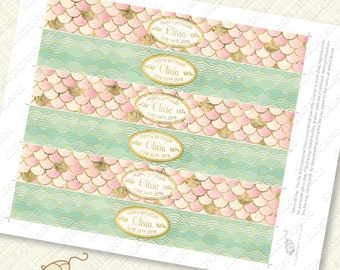 Blush Pink Mermaid Printable Water Bottle Labels customized with gold effect mint green waves pool party scales splash diy foil pdf glitter