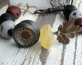 Chunky Monkey bracelet- vintage skeleton key. black. grey. rust red. vintage brass leaf. boho bohemian chunky bracelet. Jettabugjewelry