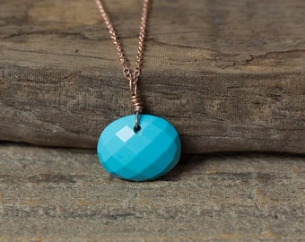 Turquoise Necklace, Rose Gold Necklace, Pink Gold Necklace, Turquoise Pendant Necklace, Simple Necklace, December Birthstone, Minimalist