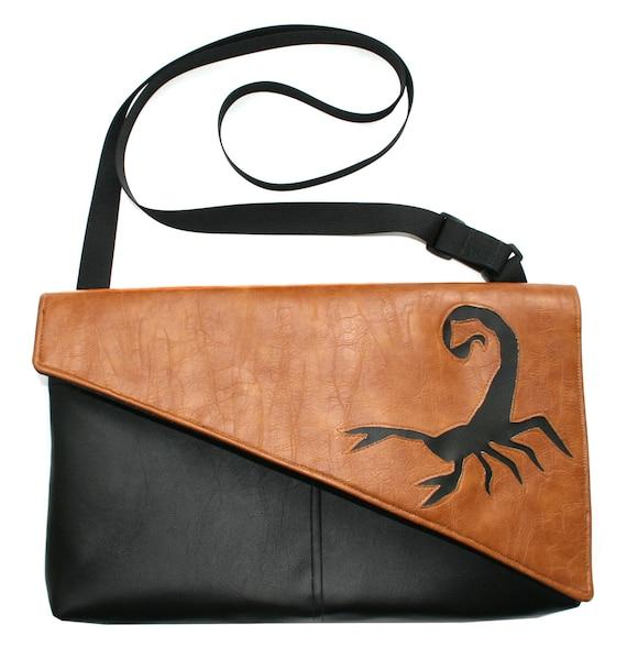 Scorpion, black, tan, vegan leather, Messenger bag, cross body bag