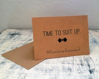 3 Will You Be My Groomsman cards - customized groomsman cards with wedding date - Time To Suit Up personalized wedding party cards