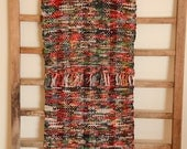 """Hand Woven Table Runner - Red Green Black Cotton 12"""" x 37"""""""