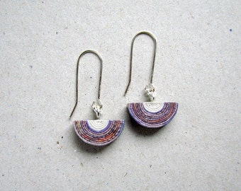 Recycled paper dangle earrings. 1st Anniversary gift for wife. Handmade eco friendly jewellery.