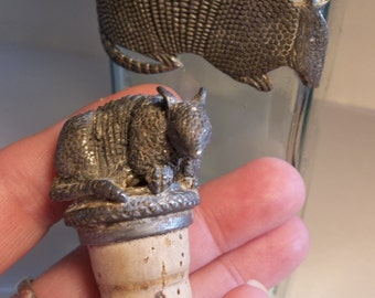 Vintage bottle armadillo , decorative corked bottle, pewter wine stopper,armadillo,