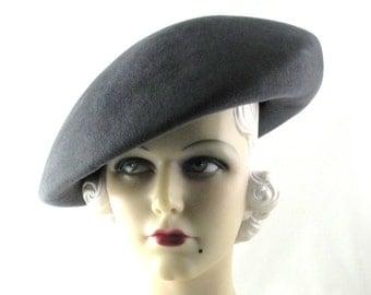 Womens Hat Large Grey Velour Fur Felt Beret Handmade Hat Church Hat Wedding Hat Veil Ascot Derby Races Art Deco Custom Made for Each Client